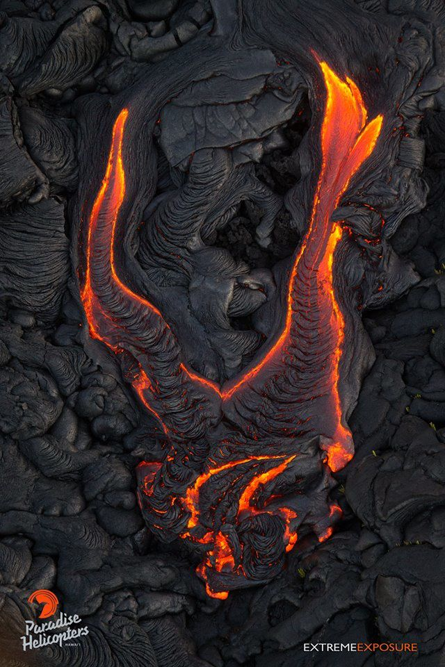 """Diable de coulée "" ou ""Coulée du diable"" -  coulée pahoehoe -  photo Paradise helicopters de la coulée 61 G le16.07.2016 61G"