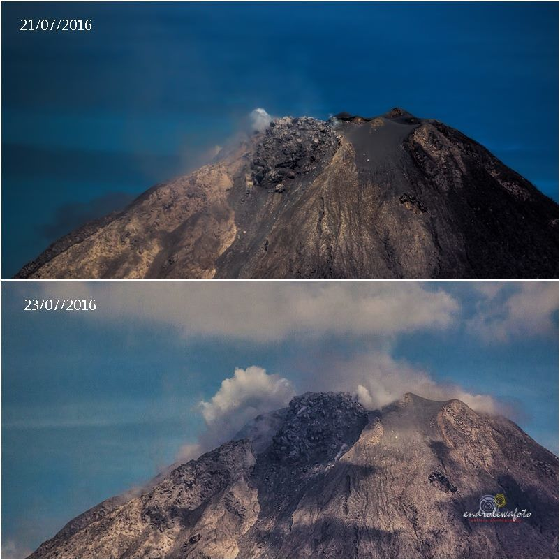 Sinabung-  dome growth between 21 and 23 july 2016 - pictures endrolewa