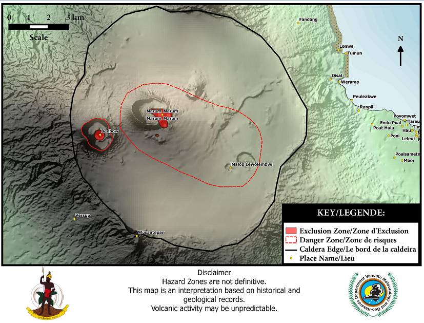 Significant outgassing of the caldera of Ambrym - photo Missal via Vanuatu Volcano / Twitter