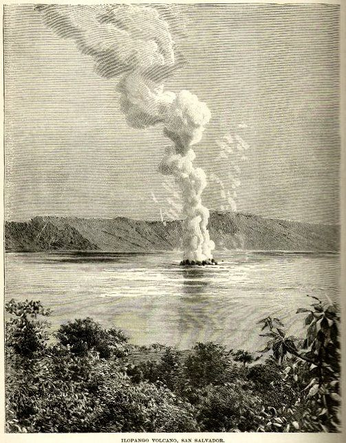 Engraving of the 1880 eruption of Ilopango with the birth of Quemadas islands. - Infrogmation