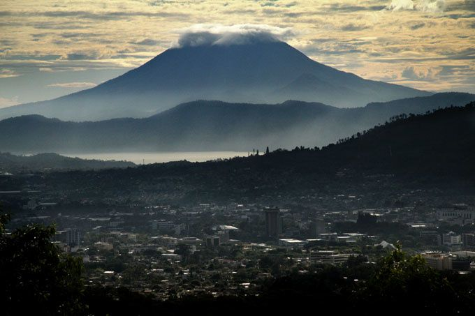 Lake Ilopango and Volcano Chinchontepec - in the foreground, the capital of Salvador - photo Mauro Arias