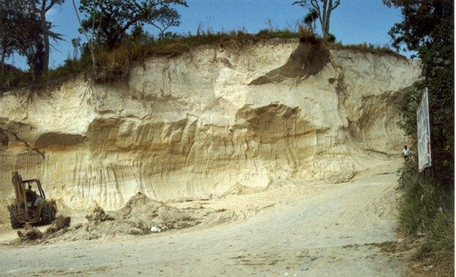 Ilopango - ash and pyroclastic flows deposits of the TBJ / Tierra Blanca Joven - Photo Giuseppina Kysar 1999 (Smithsonian Institution)