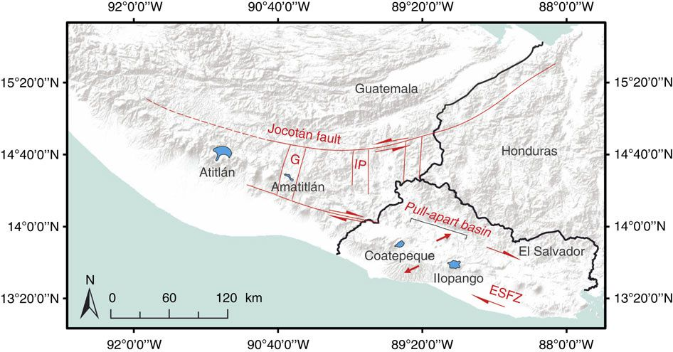 The Jocotán fault is the southernmost plate boundary fault between the North American and Caribbean plates, and is the northern boundary of along-arc transtensional deformation. ESFZ :El Salvador Fault Zone&#x3B; G : Guatemala graben&#x3B; IP : Ipala graben. - Doc. In Saxby, J. et al. Magma storage in a strike-slip caldera. Nat. Commun.