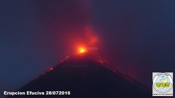 Fuego - the strombolian activity 28.07.2016 / 5:45 - INSIVUMEH