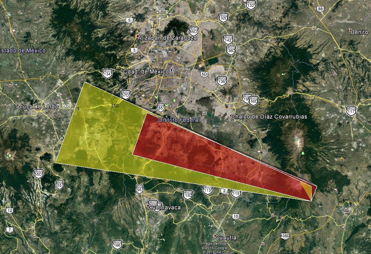 Popocatépetl - in red, ashes dispersion zone observed ; in yellow, ashes dispersion zone posible in the first 6 hours - 08.01.2016 / NOAA