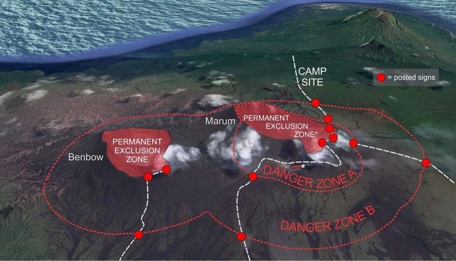 Ambrym - permanent exclusion zones and danger zones A & B - Doc. Vanuatu Geohazards Observatory
