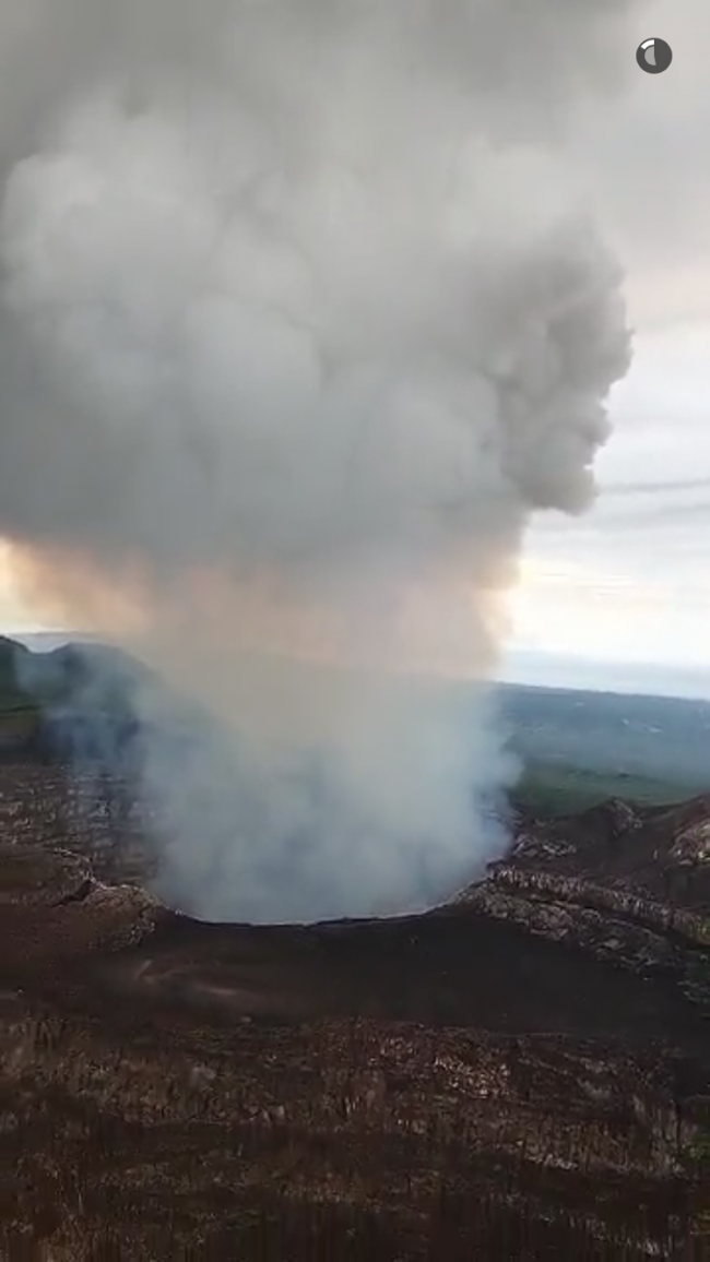Survol du volcan Masaya en important dégazage - photo Snapchat General Electric