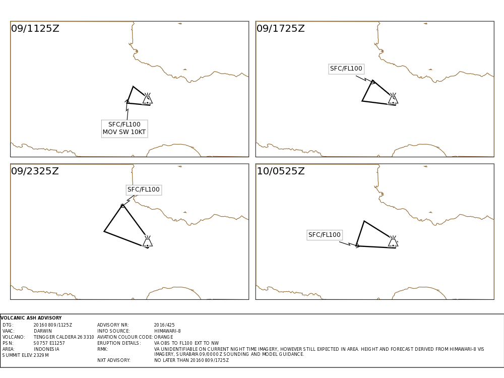 Bromo - Volcanic ash advisory for 09 and 10/08/2016 - Doc.VAAC Darwin