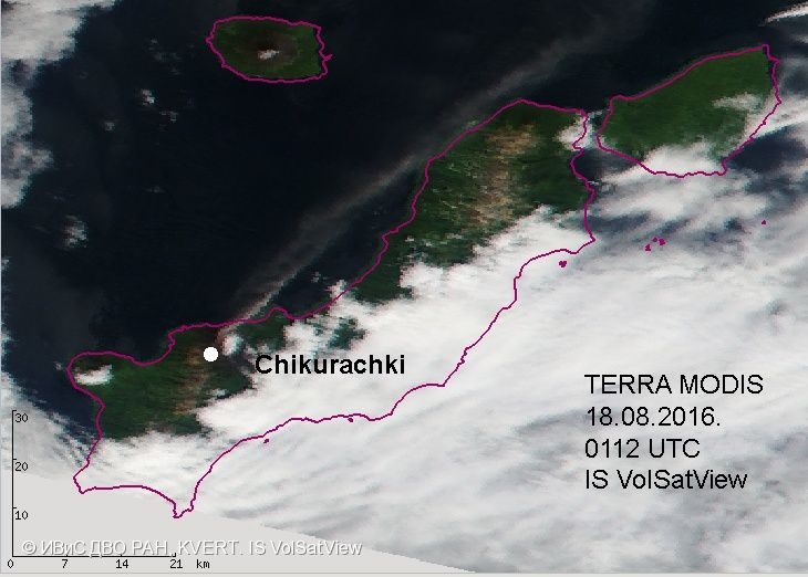 The Chikurachki's  ash plume stretches on 08/18/2016 100 km to the NE - Doc. VolSatView IS / IVS FEB RAS / KVERT
