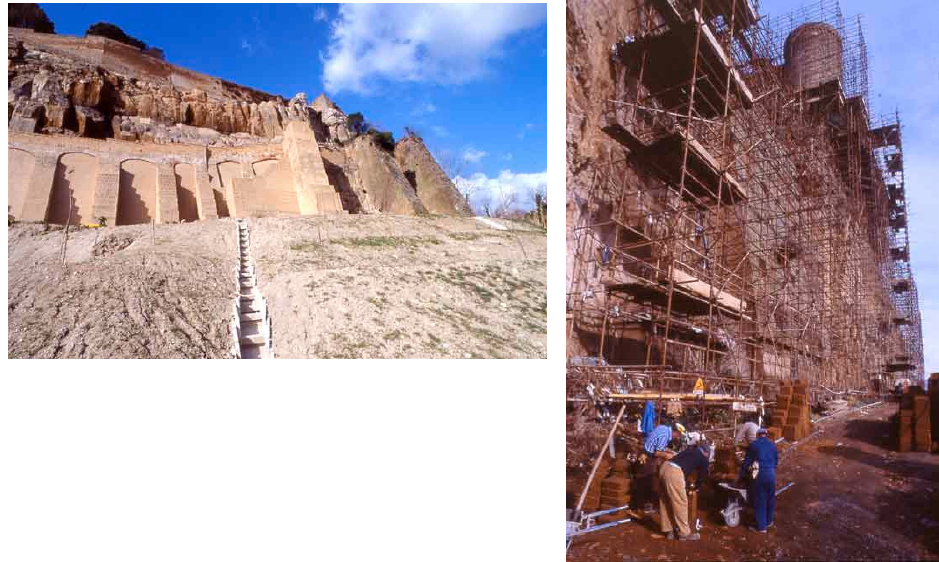 Geomorphological pattern of Orvieto rock - vertical erosion zones and landslide / According Conversini et al. 1995 -  and stabilization works / photos P.Marconi - a click on documents to enlarge