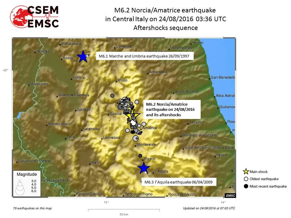 The earthquake of Amatrice and its aftershocks compared to the epicenters of earthquakes in 1997 and 2009 in the Apennines. CSEM map