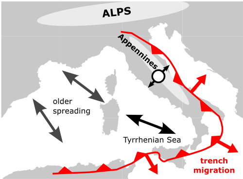 Simplified tectonoc of the western Mediterranean, with the opening of the Tyrrhenian Sea and location of earthquakes in 2016 - Doc Chris Rowan / Allochtonous