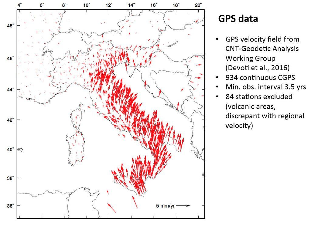 GPS data from the INGV terremoti showing the movement in Italy, and therefore earthquakes affecting the crust.