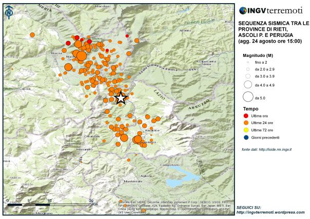 The epicenter of the earthquake and its aftershocks 06.24.2016 /  to 15h - doc INGV terremoti