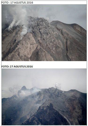 Sinabung - photos du sommet le 17 et le 27.08.2016 -  point de vue un peu décalé, avec comme référence le méplat à droite - doc. Hasron David Ginting vis Komunitas Beidar Sinabung