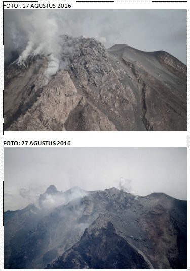 Sinabung - photos of the top 17 and 27.08.2016 - slightly shifted perspective, with reference to the flat zone right - Doc. Hasron David Ginting via Komunitas Beidar Sinabung