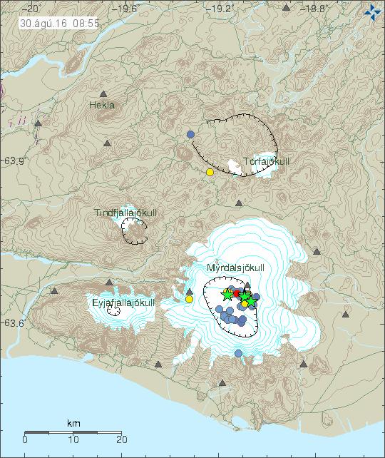 Sismicité Katla - 30.08.2016 à 8h55 - Doc. IMO