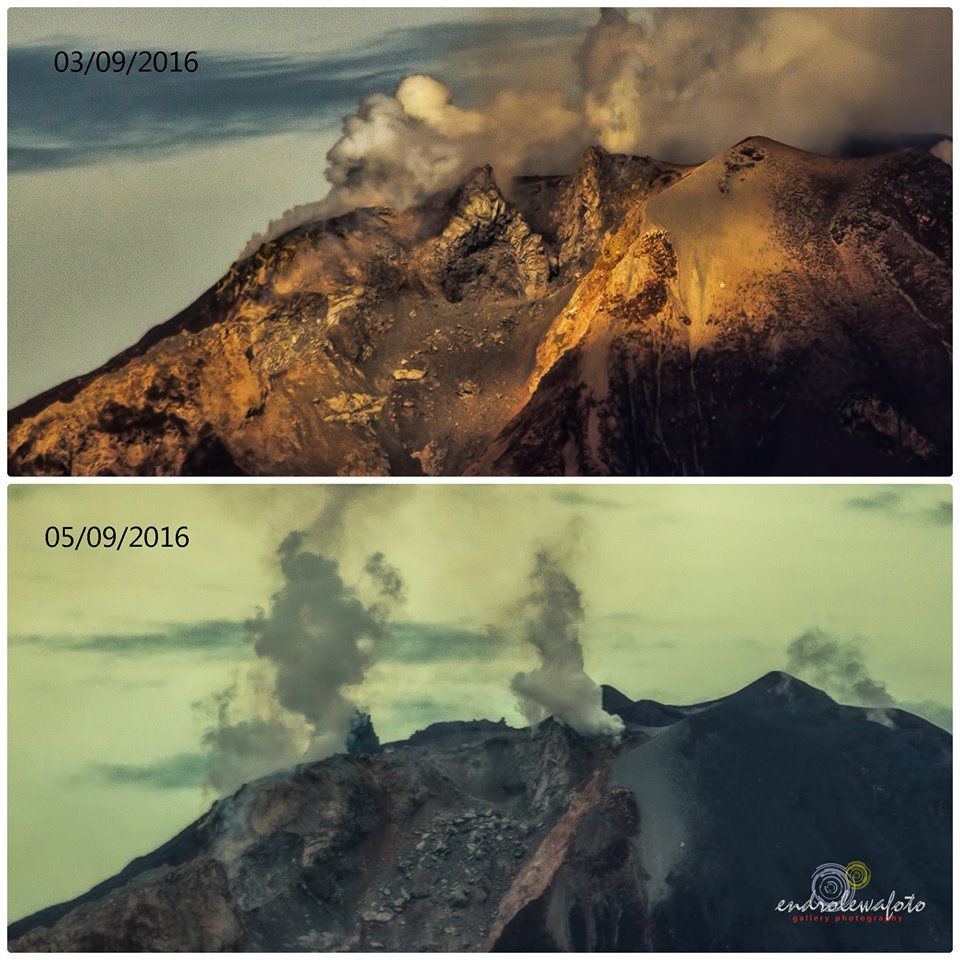 Sinabung - evolution of the summit zone between 03 and 05.09.2016 - photo Endrolewa