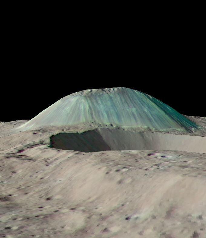 "Vue reconstituée du ""cryovolcan"" Ahuna Mons - doc. Nasa / JPL Caltech / UCLA / MPS / DLR / IDA"