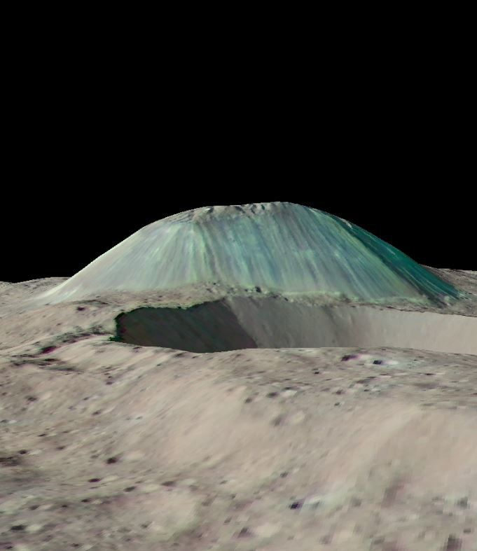 "Reconstituted view of the ""cryovolcano"" Ahuna Mons - Doc. NASA / JPL Caltech / UCLA / MPS / DLR / IDA"