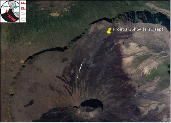 Location Map of eruptive fissures (white lines) and the flow front at 16: 54, 11 September 2016 - Doc. OVPF / IPGP