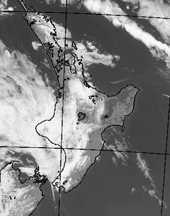 White Island - the plume is distinct in this radar satellite view of the Met Service NZ 09.13.2016 / around 12 pm