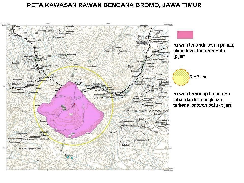 Bromo - last map of risk areas issued by the VSI