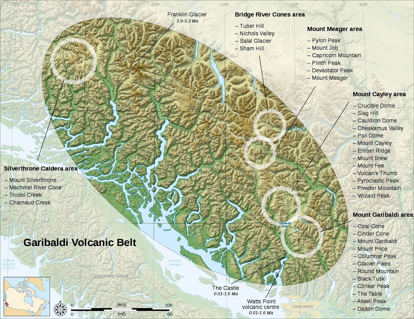 The Garibaldi volcanic field / Canada - Doc. SVG / wiki