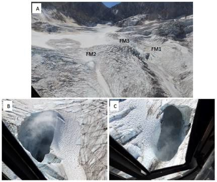 Mt Meager - fumaroles on Job Glacier, during an inspection on August 20, 2016 - courtesy Dr. Russell / NRCAN