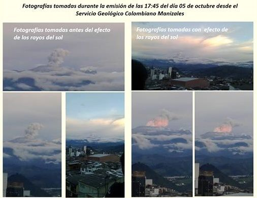 Nevado del Ruiz - 05/10/2016 - photos taken with and without the effects of sunlight - doc. SGC Manizales