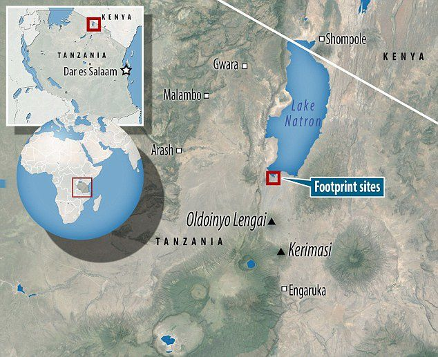 Location of the fossil footprints site in Engare Sero - map from Daily Mail