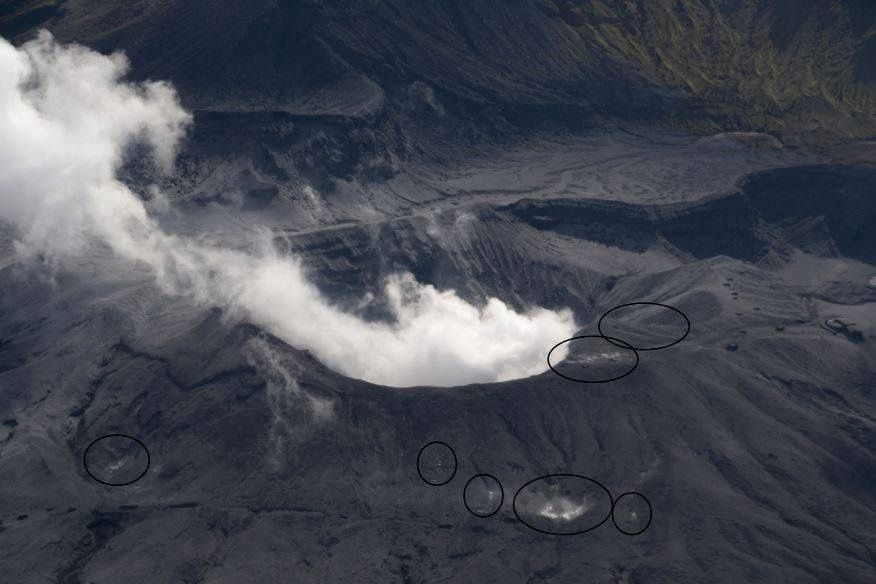 Vue générale du massif de l'Aso lors du survol du 8 octobre par le JMA