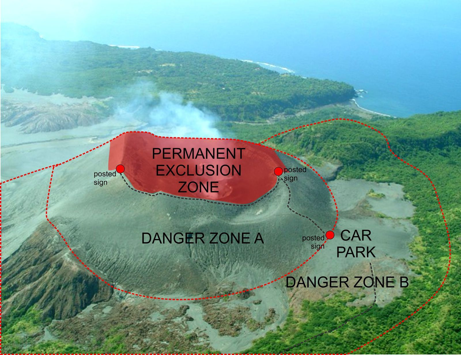Yasur -  risk areas map - Doc. Vanuatu Geohazards Observatory / 15.010.2016