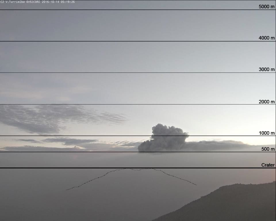 Turrialba - plume more than 1,000 meters above the crater - webcam picture Ovsicori / on Irazu