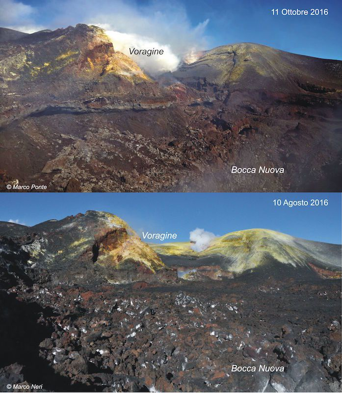 Summit area of ​​the Bocca Nuova - comparison between 10 August / Photo M.Neri and 11 October / Photo Marco Ponte - in La Gazetta Siracusana.