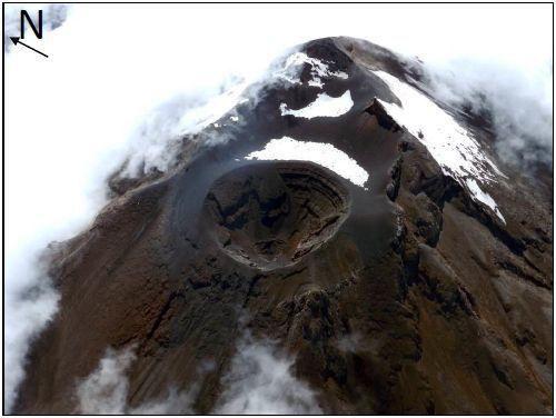 Tungurahua - survol du sommet le 17.10.2016  - photo  M. Almeida / IGEPN