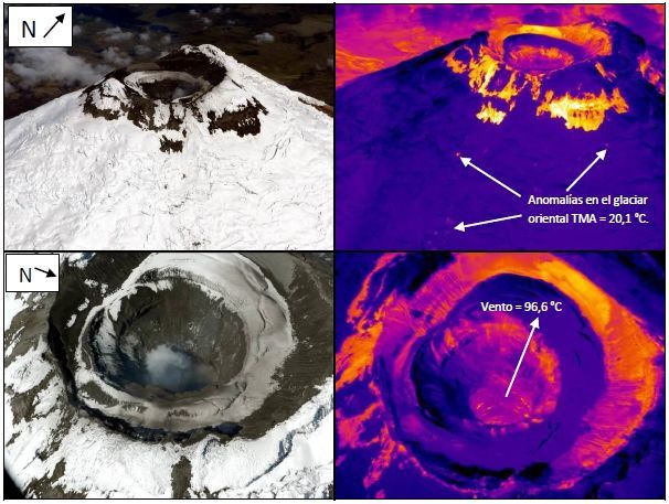 Cotopaxi - temperature measurements by the thermal camera and correspondence with images in natural light -  photos and thermic images Almeida, P. Ramón / IGEPN