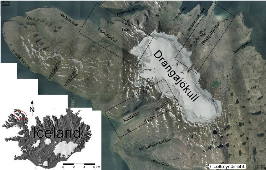The ice cap of the Drangjökull and the emissary glaciers