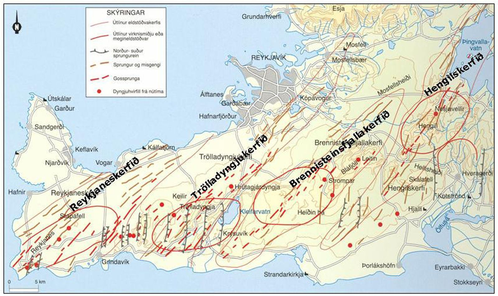 Fissure systems in steps of the Reykjanes Peninsula.