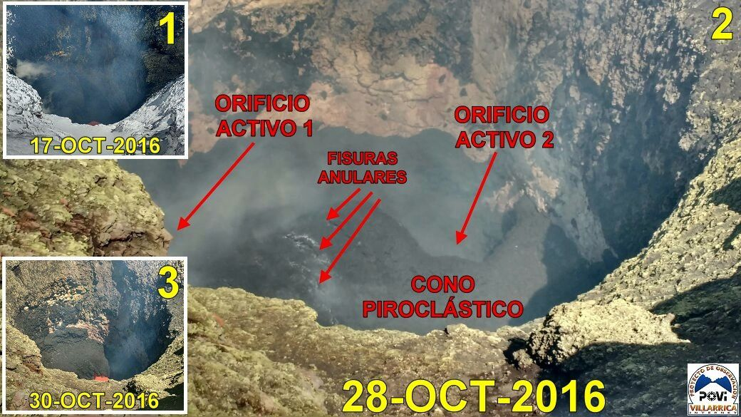 Crater of Villarica and its pyroclastic cone on 28.10.2016 - doc.POVI