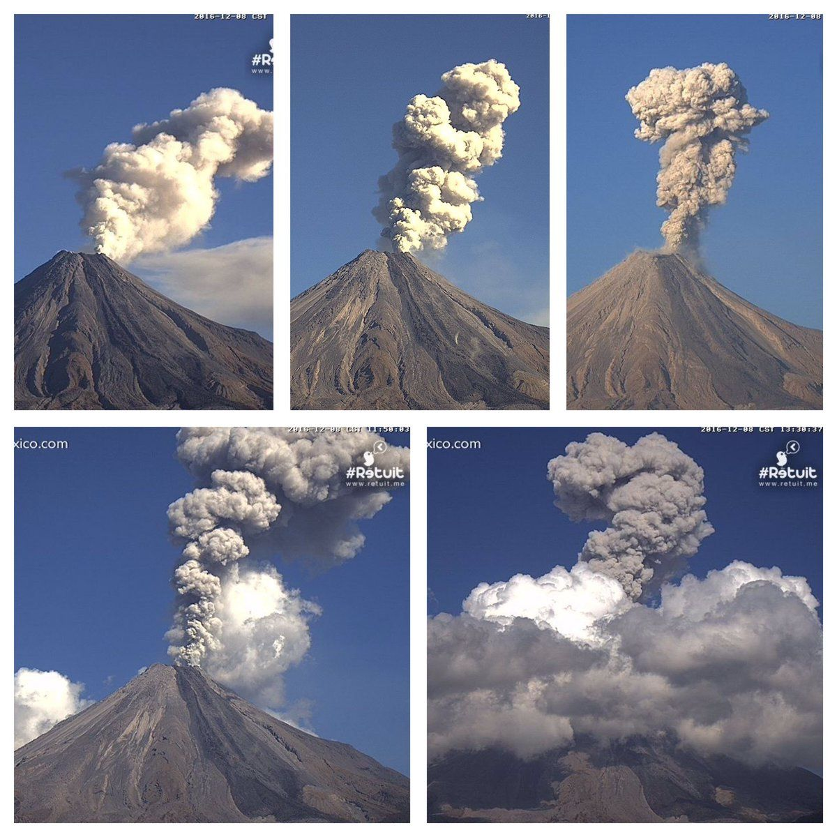 Explosions of December 8 during the day - photos WebcamsdeMexico / Chematierra