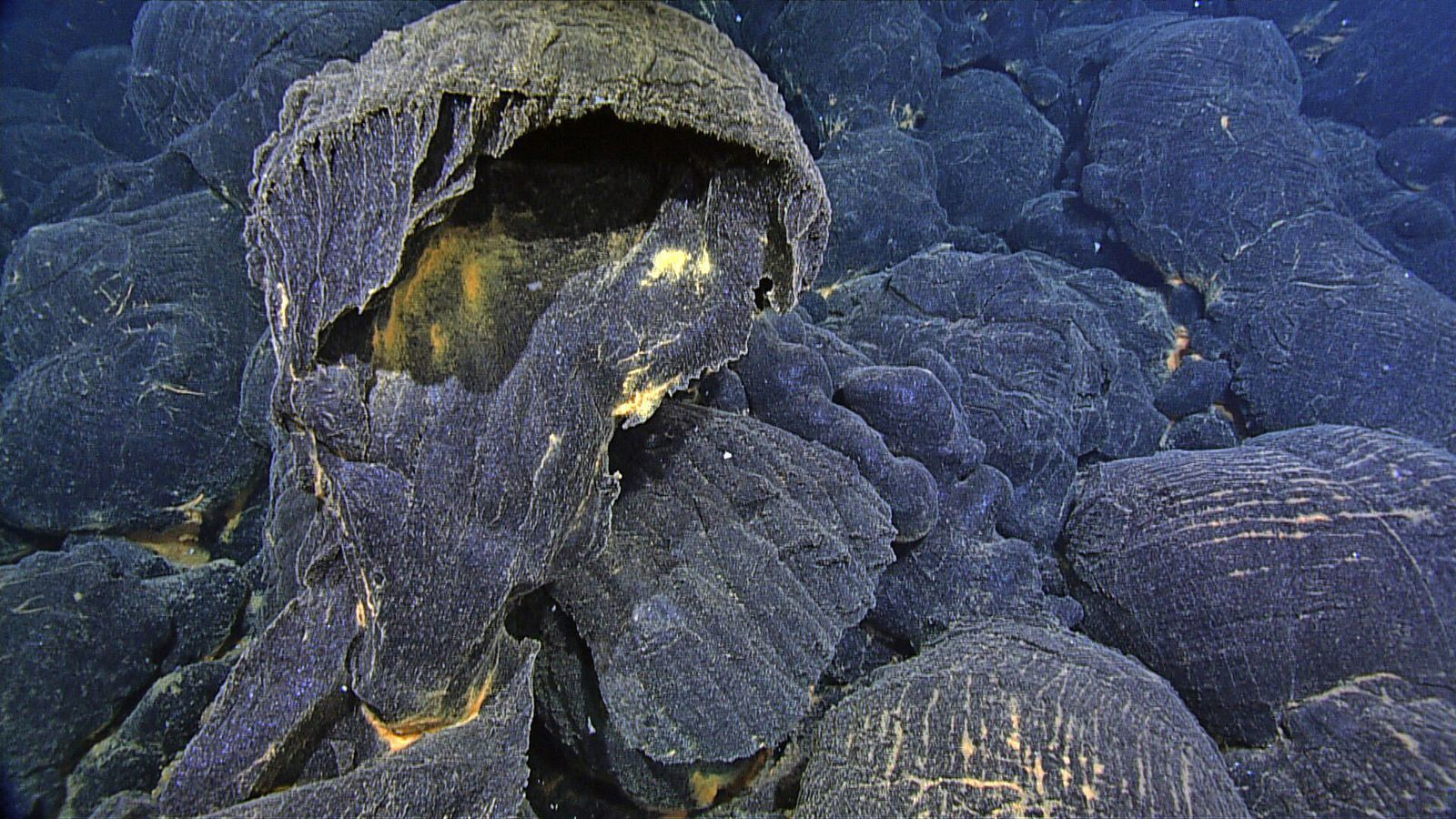 Axial seamount - pillow lavas exploded,dating from April 2015 eruption - one click to see full screen - doc. MBARI