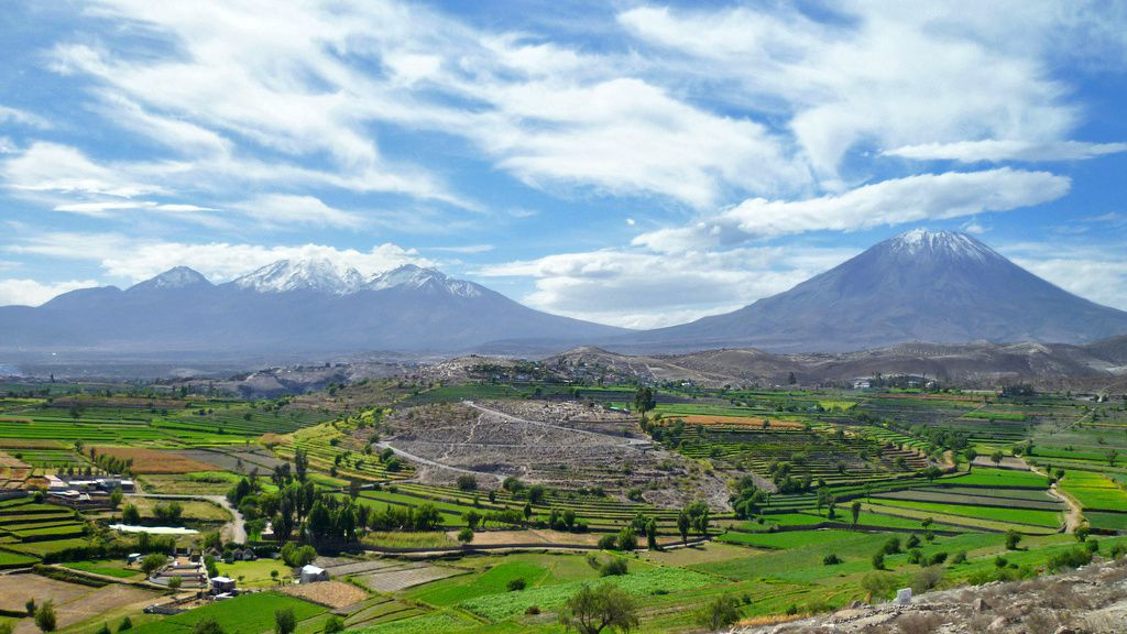 Two of its three volcanoes of Arequipa : the Chachani complex on the left, and El Misti, on the right
