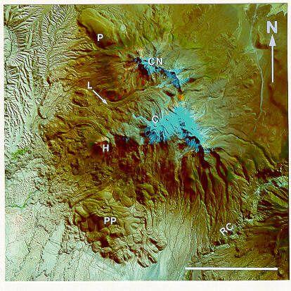 Arequipa - the Chachani massif - C: Nevado Chachani - CN: Cerro Nocarane - P: Cerro Los Peñones- PP: Pampa de Palacio - document Oregonstate Univ