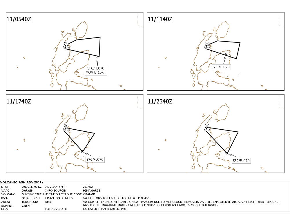 Ash advisory for Dukono - 11.01.201 -  - VAAC Darwin