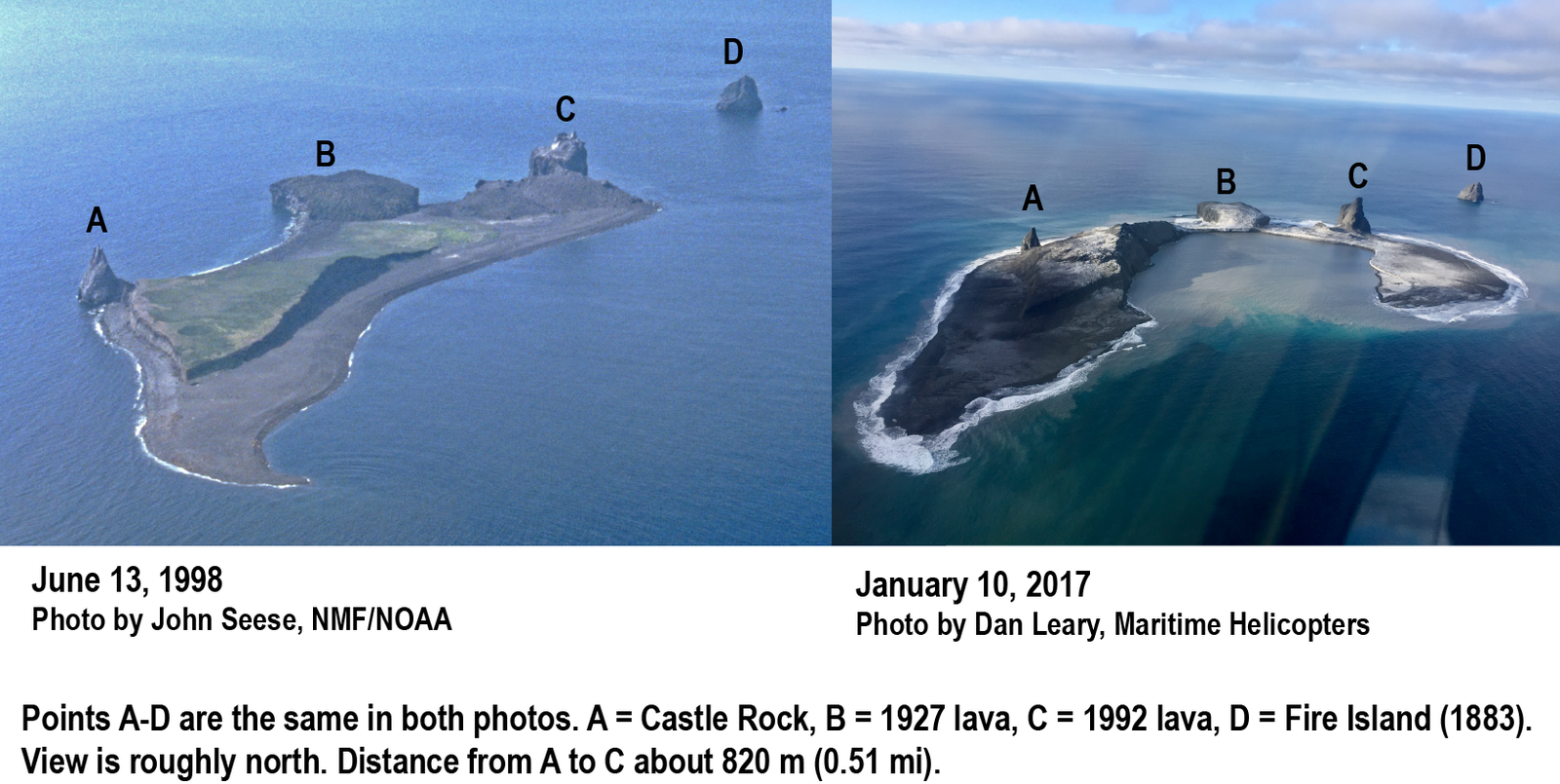 Comparaison of Bogoslof Island, 1998 to 2017 showing changes in the configuration of the island as a result of the ongoing 2016-17 eruption. IMAGE: photo 1998 courtesy of John Seese, National Marine Fisheries/NOAA. -  photo 2017 courtesy of Dan Leary, Maritime Helicopters./ Alaska Volcano Observatory / U.S. Geological Survey  A click to enlarge