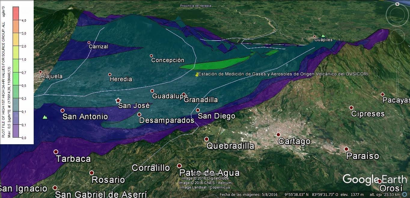 Aerosol dispersion model for the Turrialba on 16.01.2017 - doc. Ovsicori