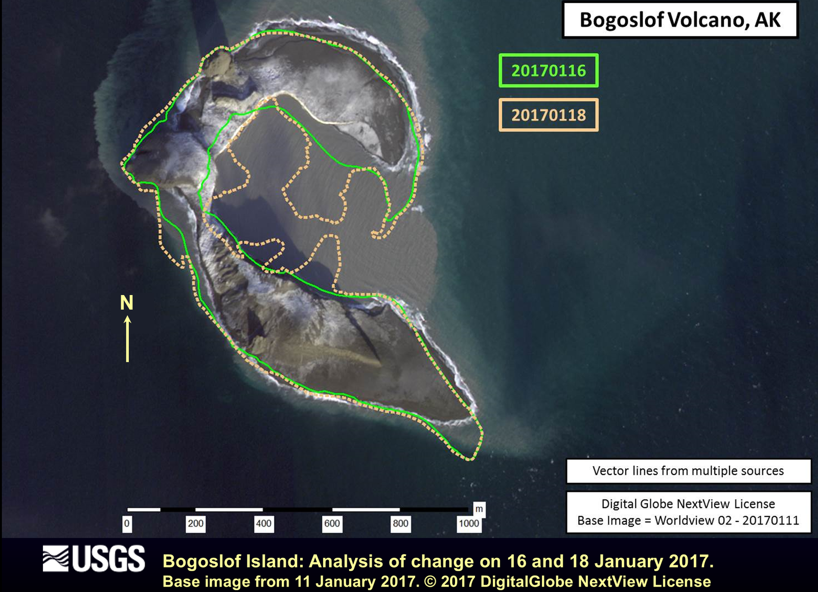 Changes in the coastline of Bogoslof Island between 16 (green line) and 18 January (pink dot) before the explosion of that day - Doc. Kim Angeli / AVO 18.01.2017 / 12h.
