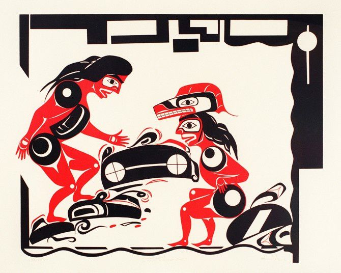 l'histoire du pied-tremblement et des séismes  -  par un artiste Nuu-chah-nulth , Tim Paul Royal / BC Museum and archives