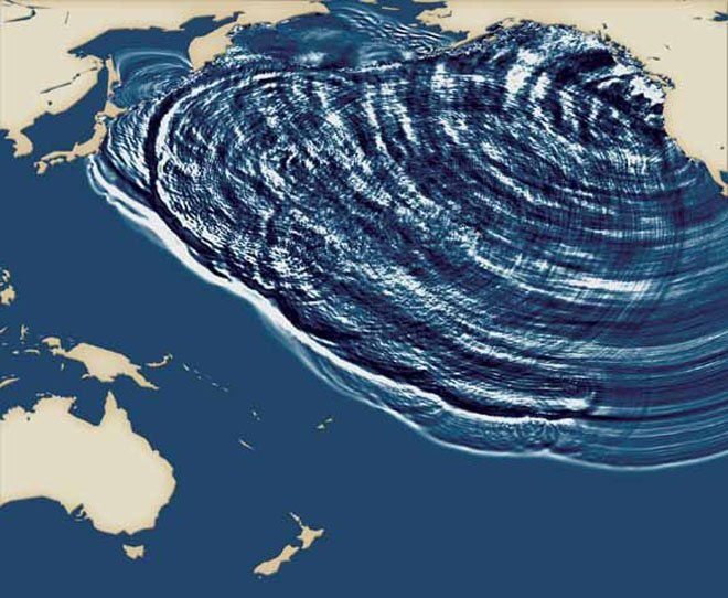 Simulation of the tsunami of the year 1700 - Doc. USGS / Japan Geological Survey / via Wired